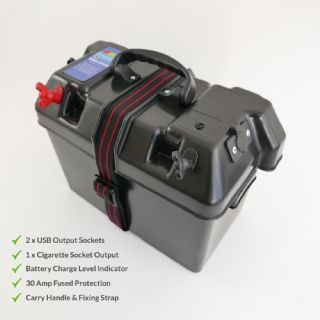Boat Battery Power Box 12V output, USB and Lighter Socket